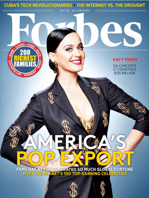Katy Perry in copertina su Forbes