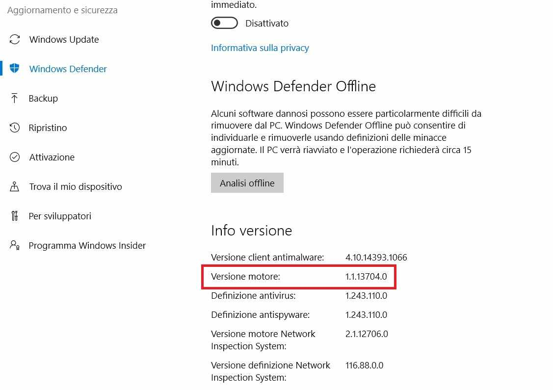 Pericolo da Windows Defender, download aggiornamento necessario per salvaguardarsi