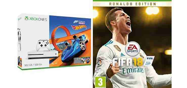 prezzo fifa 18 ronaldo edition con xbox one s a ribasso su amazon sconti su 2 bundle. Black Bedroom Furniture Sets. Home Design Ideas